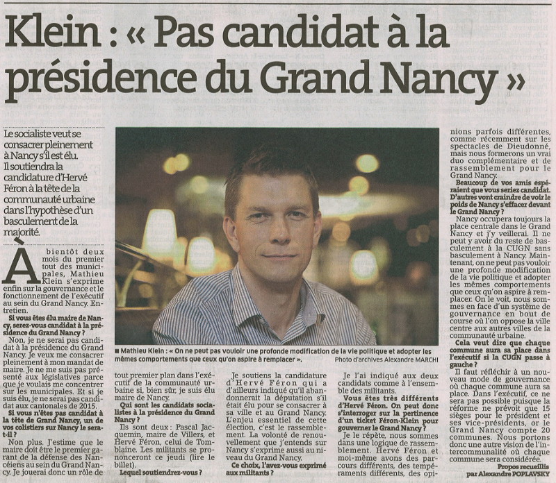 Interview de Mathieu Klein sur la CUGN